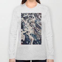 Blue Paint Pour Long Sleeve T-shirt