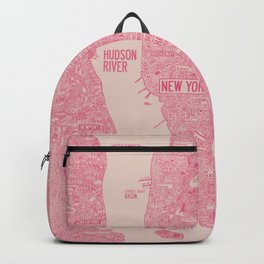 nyc map new york red Backpack
