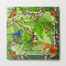 Birdy & Fishy spring green Metal Print