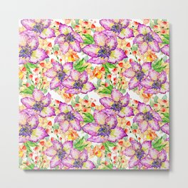 Hand painted modern pink lilac watercolor hibiscus floral pattern Metal Print