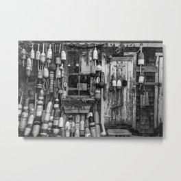 B&W Fishing Shack Metal Print