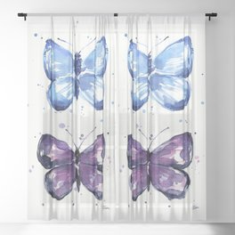 Butterflies Watercolor Blue and Purple Butterfly Sheer Curtain