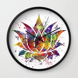 Lotus Flower 2 Watercolor Print Wall Art Wedding Gift Zen decor Wall Clock