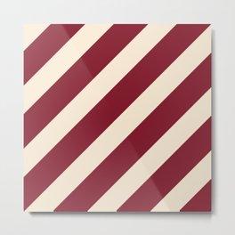 Antique White and Antique Ruby Diagonal Stripes Metal Print