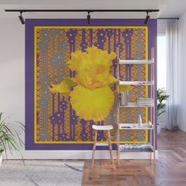 Puce Purple & Oriental Deco Style Large Yellow Iris Pattern Wall Mural