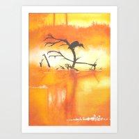 Heron in the Mist Art Print