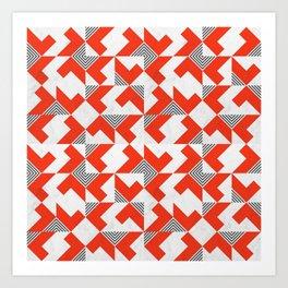 Marble Red Blocks Art Print