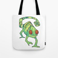 chameleon Tote Bags featuring Chameleon by Suzanne Annaars