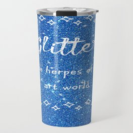 Quirky funny glitter - blue Travel Mug