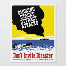 Smoking Stacks Attract Attacks -- WPA Canvas Print