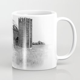 Pencil Art, Old Wooden Barn and Wooden Silo, Country Scene Coffee Mug