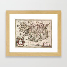 Vintage Map of Iceland (1684) Framed Art Print