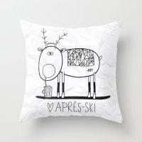 ski Throw Pillows featuring Apres ski by Farnell