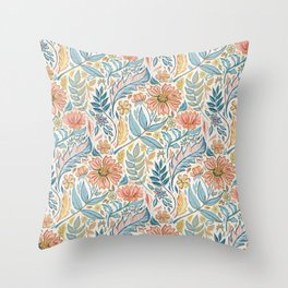 Soft Peach and Blue Art Nouveau Floral Throw Pillow