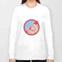 hercules Long Sleeve T-shirts featuring Hercules Wielding Club Circle Retro by patrimonio