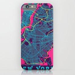 New York Neon City Map, New York Minimalist City Map iPhone Case