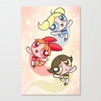 powerpuff girls Canvas Prints featuring Powerpuff Girls by catawump
