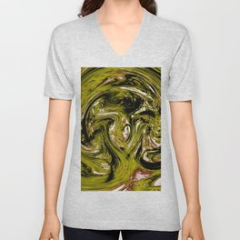 psychedelic spiral line pattern painting abstract background in green Unisex V-Neck
