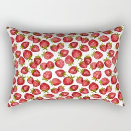 Watercolor Strawberries Rectangular Pillow