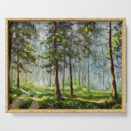 Original acrylic painting Walk in the sunny forest. Colorful illustration. Artwork fine art. Serving Tray