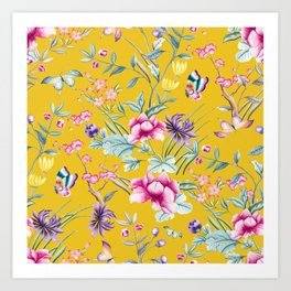 Yellow Chinoiserie Asian Floral Print Art Print