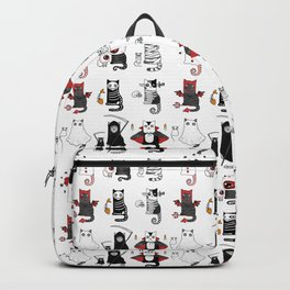 Horror Cats and mouses. Cute witch, vampire, angel and demon Backpack