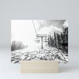 Powder on the Hill // Black and White Skilift Shot on a Deep Snowday Mini Art Print
