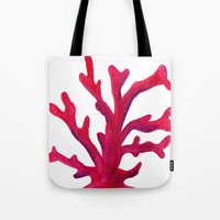 coral Tote Bags featuring Coral by Hayley Lang