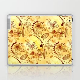 Golden Floral Doodle Laptop & iPad Skin
