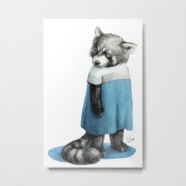 Miss Red Panda in Dress Metal Print