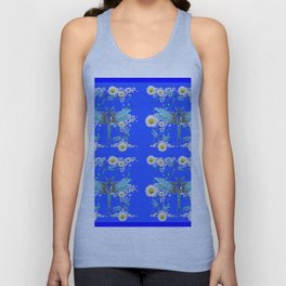 BLUE DRAGONFLIES REPEATING  DAISY FLOWERS  ART Unisex Tank Top