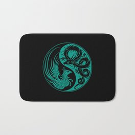 Teal Blue and Black Dragon Phoenix Yin Yang Bath Mat