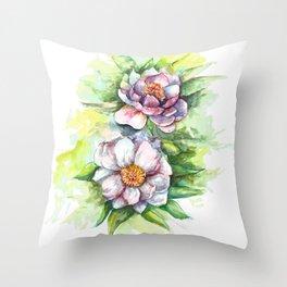 Cherry flowers watercolour Throw Pillow