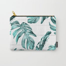 Turquoise Palm Leaves on White Wood Carry-All Pouch