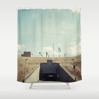 dwight Shower Curtains featuring the dwight d eisenhower lock by Amanda Stockwell