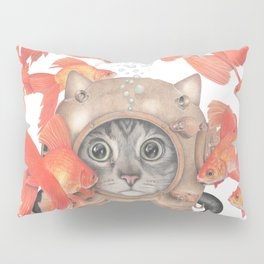 Scuba Cat Among the Fishes Pillow Sham