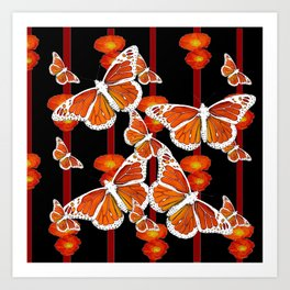 WHITE MONARCH BUTTERFLIES ORANGE POPPIES BLACK Art Print