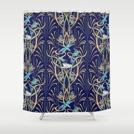 Art Nouveau Dragonflies   Navy Shower Curtain