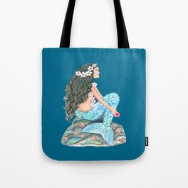 Mermaid on a rock with flowers and shells Tote Bag