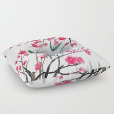 bamboo and red plum flowers in pink background Floor Pillow