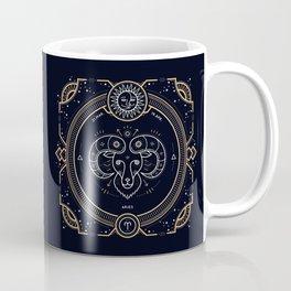 Aries Zodiac Gold White Black Background Coffee Mug