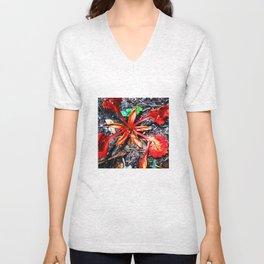 Flor Rojo Unisex V-Neck