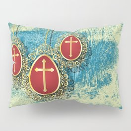 Beautiful Gold Crosses on a pale blue and yellow texture Pillow Sham