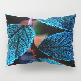 Peacock Blue Leaves Nature Background #decor #society6 #buyart Pillow Sham