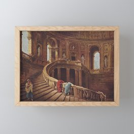 Hubert Robert - Staircase in the Villa Farnese at Caprarola Framed Mini Art Print