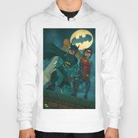 justice league Hoodies featuring bat man the watch men justice league man of steel by Brian Hollins art