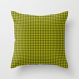 Mini Black and Bright Yellow Cowboy Buffalo Check Throw Pillow