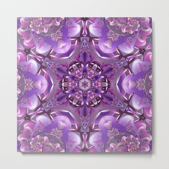 Truth Mandala in Purple, Pink and White Metal Print