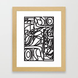 Stained Glass Patter (Black outlines) Framed Art Print