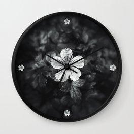 Minimalistic black and white flower petal Wall Clock